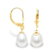 Boucles d'Oreilles en Or et Véritables Perles de Culture d'Eau Douce Poire de 9 mm.
