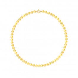 Collier Rang - Perles Rondes 6-7 mm - Qualité AA - Fermoir Anneau Marin PM Or 750 Millièmes